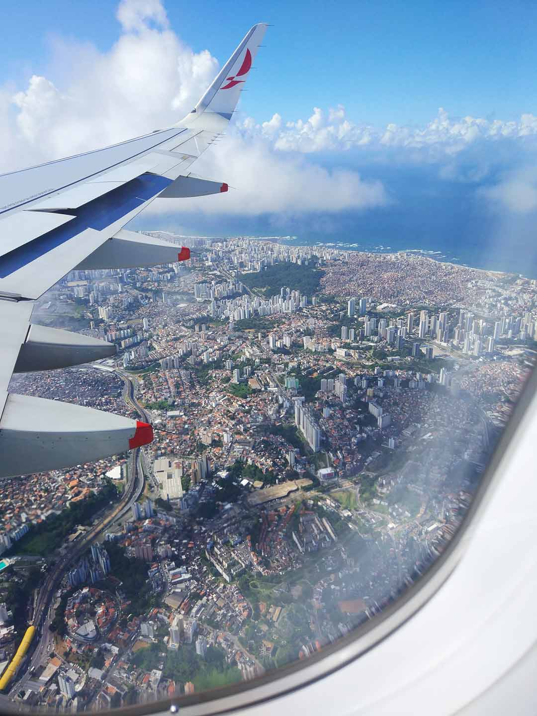 plane view on the city
