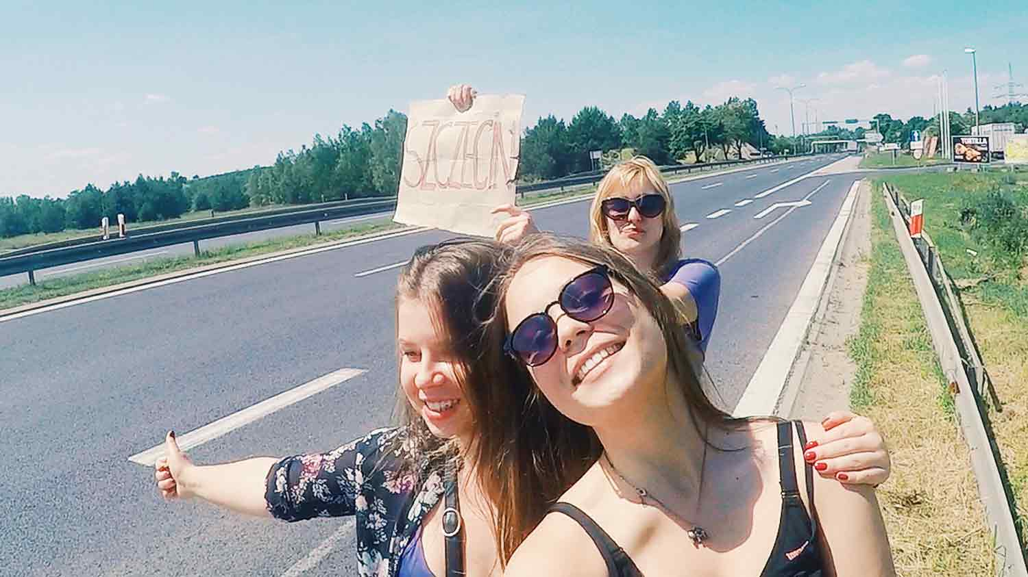 hitchhiking with friends